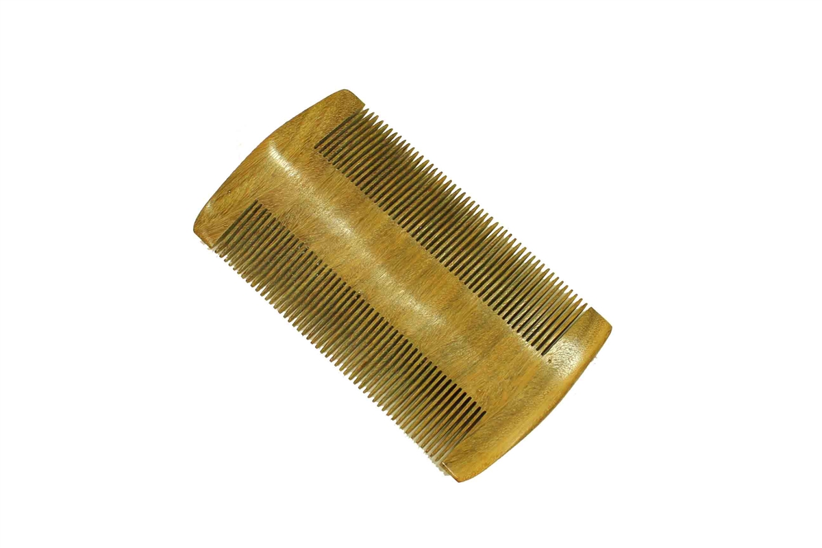Green Sandalwood Double Sided Fine Tooth Beard Comb Pocket