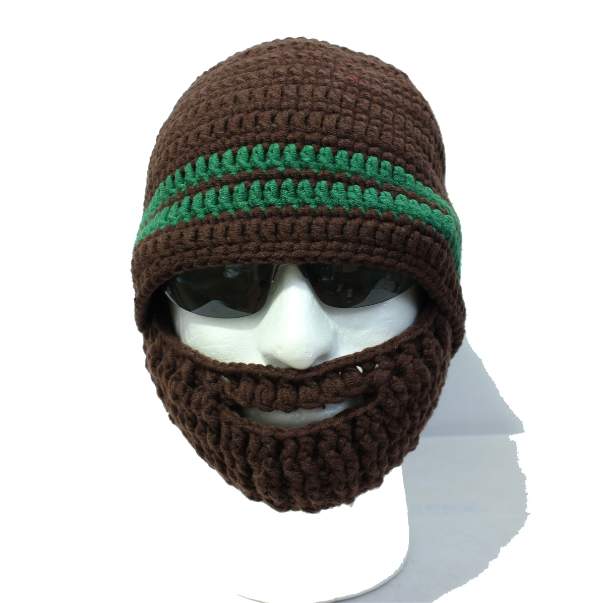 e3dcb3cb755 Crocheted Brown Beard Hat with Two Green Stripes · Larger Photo ...