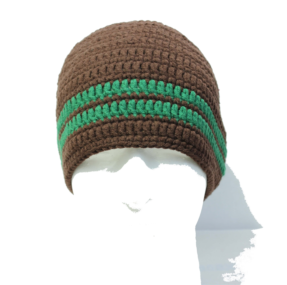 7621a30ff75 Brown Beard Hat with Two Green Stripes