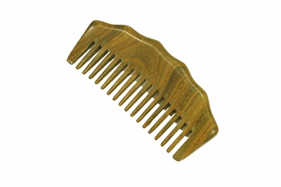 wide tooth green sandalwood comb wc074g
