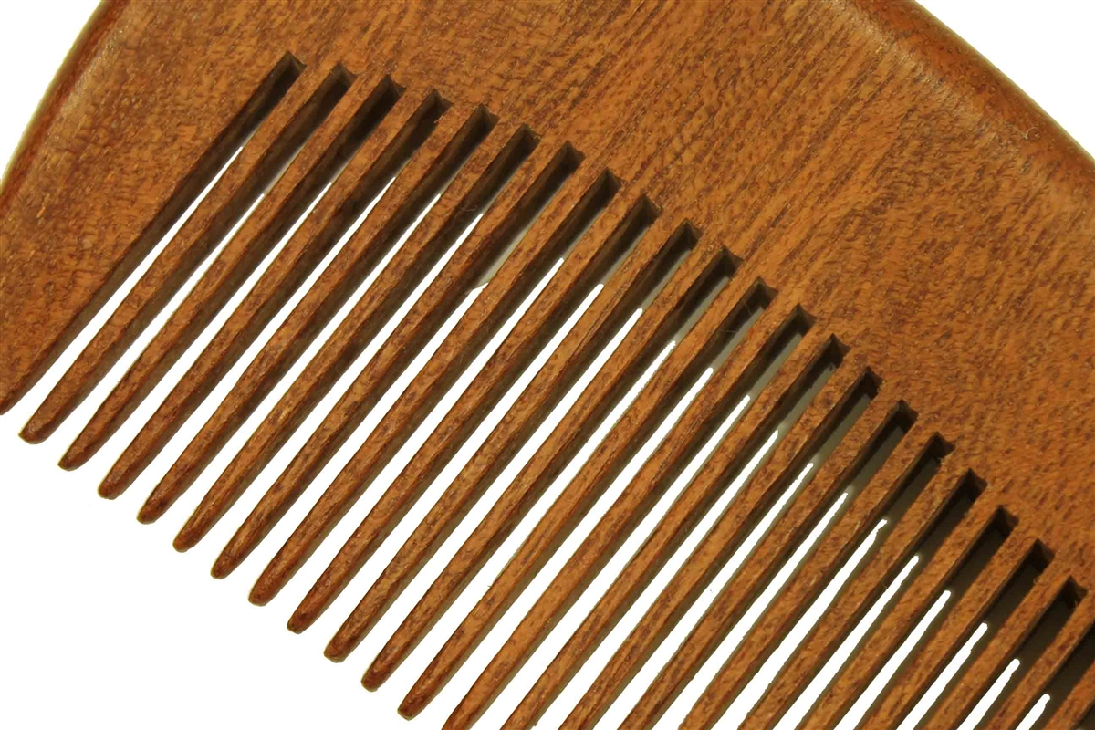 Wholesale Medium Tooth Red Sandalwood Beard & Hair Comb with Handle -  WC048WS100